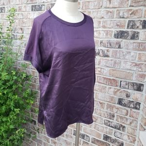 VINCE Silk Short Sleeves Free Fitted Top Purple M